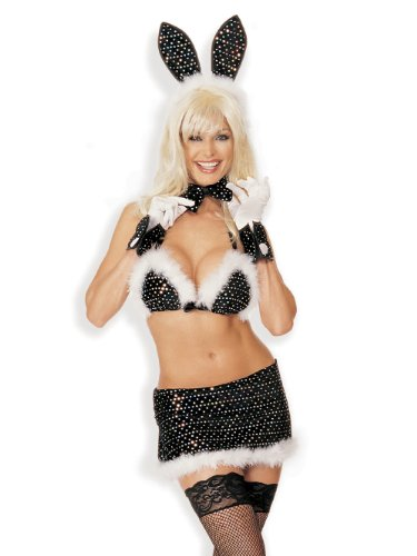 SeXy Hollywood Bunny Costume 5 Pc Black Sequin