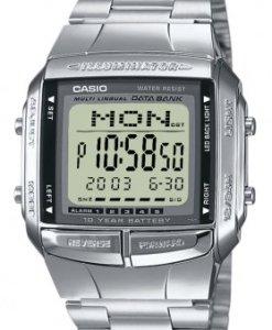 CASIO Collection DB-360N-1AEF - Reloj digital con correa de acero inoxidable para hombre (cronómetro, alarma, luz), color plateado