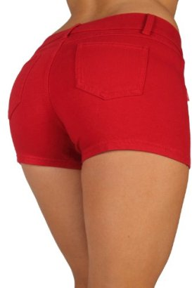 Basic-Short-Shorts-Premium-Stretch-French-Terry-Moleton-With-a-gentle-butt-lifting-stitching-in-Red-Size-XS