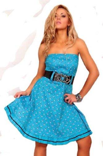 Trägerloses Korsagen Kleid blau o. weiß m. Gütel