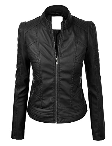 CTC WJC746 Womens Vegan Leather Motorcycle Jacket XL BLACK