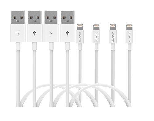 ISELECTOR iphone 7 充電ケーブル ライトニングケーブル MFi認証 Lightning 充電usbケーブル iphone 7/7Plus/6s/5s ipad ipodなど対応 1m 4本セット ホワイト