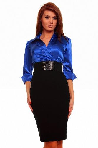 Astrapahl, Business Abendkleid, lange Ärmel, mit Gürtel, Länge knielang, Farbe blau - schwarz