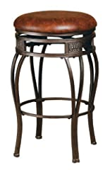 Hillsdale Montello 30-Inch Backless Swivel Bar Stool, Old Steel Finish with Brown Faux-Leather