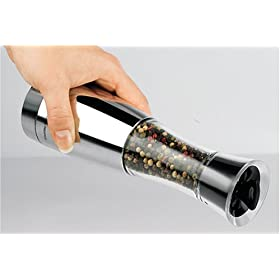 Trudeau Elite Graviti Battery Operated Pepper Mill - Chrome & Black