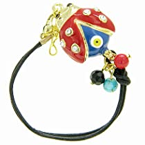 Handcrafted Amulet Evil Eye Protection Lady Bug Enamel Bracelet