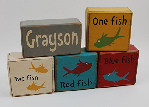 Personalized Name One Fish-Two Fish-Red Fish-Blue Primitive Country Wood Stacking Sign Blocks