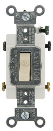 Leviton CS220-2T 20-Amp, 120/277-Volt, Toggle Double-Pole AC Quiet Switch, Commercial Grade, Light Almond