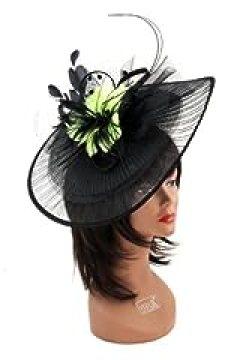 NYfashion101(TM) Cocktail Fashion Sinamay Fascinator Hat Feather & Flower Design S102450-Black/Lime