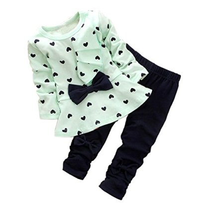 ASHERANGEL-Baby-Girl-Cute-2pcs-Set-Children-Clothes-Suit-Top-and-Pants-Light-Green-Age3T