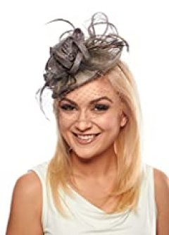 Enchantment Sinamay Fascinator Cocktail Hat with Flower Trio (Silver)
