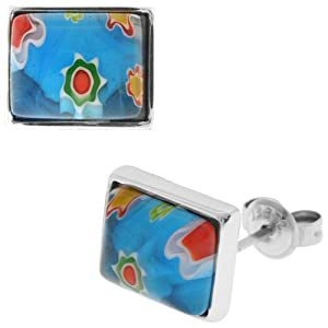Inox Jewelry Women's Murano Glass Blue and Turquoise Square 316L Stainless Steel Earrings