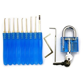 Bullkeys-Blue-Transparent-Padlocks-With-11-Pcs-Maintenance-Hardware-Combinations-for-Training-Practice