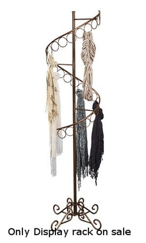 boutique cobblestone spiral scarf display rack with 3 inch d 27 scarf rings eproducthunter
