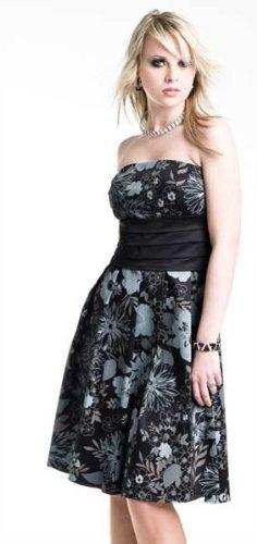 Trägerloses Korsagen Kleid Bandeau schwarz türkis, beige o. schwarz grau