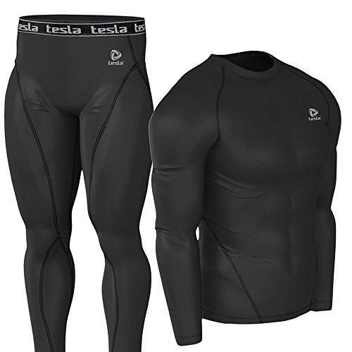 (テスラ)TESLA スポーツタイツ+ラウンドネック お得上下セット 高機能コンプレッション [UVカット・吸汗速乾]オールシーズン アンダーウェア【サイクリング・トレ-ニング・サッカー・野球・登山・スキー・スノーボード・サーフィン・ ゴルフウェア】P6R1 (BB+BB, L)