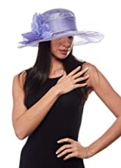 Sandown Park Sinamay Derby Hat with Flower Detail, Lilac