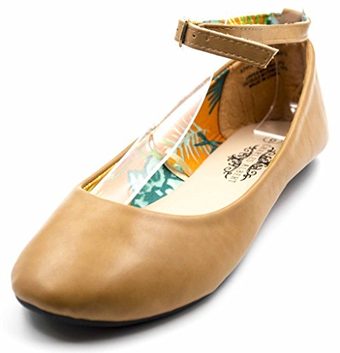 Charles Albert Round Toe Vegan Leather MaryJane Flats in Beige Size: 7