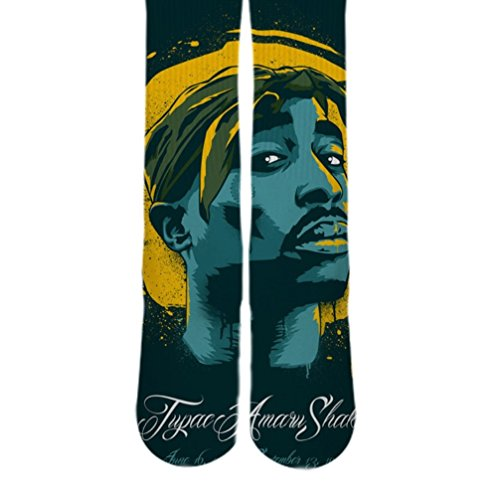 Dopesox Mens 2Pac Full Print Urban Style Elite Socks One Size (6-12) White