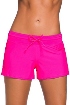 Aleumdr-Womens-Swim-Boardshort-Bottom-Shorts-Swimming-Panty-Small-Rosy