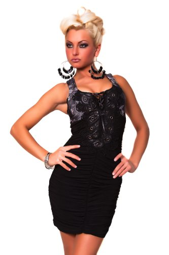 Pencil-Kleid Minikleid mit Spitze Ornament & Schnürung