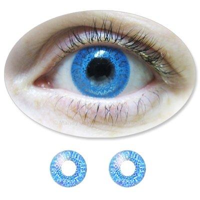Farbige Kontaktlinsen Monatslinsen Fun ColorMaker RoyalBlue /Himmelblaue mit oder ohne Stärken