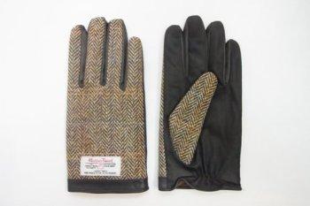 iTouch Gloves アイタッチグローブ スマホ対応 Harris Tweed × leather ヘリンボーン ブラウン (Lサイズ)