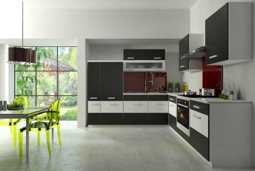 Küche Fabienne 260×220 cm Küchenzeile in schwarz / weiß – Küchenblock variabel stellbar