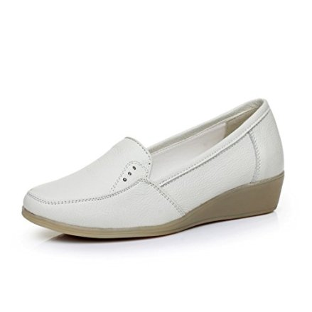 Ladies flat shoes/Tendon shoe nursing shoes/Small white leather casual shoes-A Foot length=23.3CM(9.2Inch)