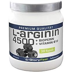 Gloryfeel - L Arginin 4500 inklusive Bioperin und Vitamin B12, 300 Kapseln