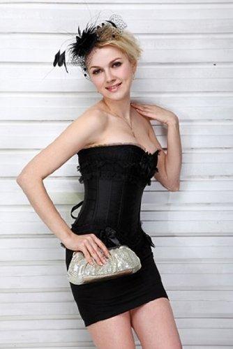 schöne schwarze Spitze burleske Moulin Rouge Satin Korsett, Größe 34,36,38,40,42,44,46,48,50,52