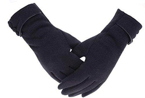 Tomily Womens Touch Screen Phone Fleece Windproof Gloves Winter Warm Wear (Black)