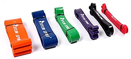 KYLIN SPORT 41 inch Resistance Band Pull Up Training Yoga Pilates Elastic Loop Bands 50 to 125LBS Green for Crossfit Gymnastics Workout