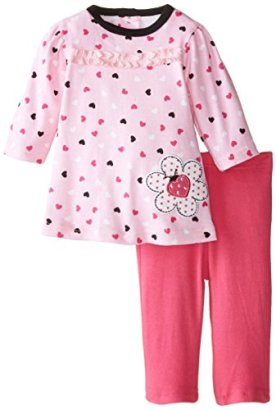 BON-BEBE-Baby-Girls-Hearts-with-Ladybug-2-Piece-Dress-Set-with-Leggings