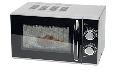 MEDION (MD 15644) Mikrowelle, 700 Watt, 17 Liter, 6 Mikrowellen-Leistungsstufen, 30 min. Zeitschaltuhr, Auftaufunktion, Kochendsignal, Leichte Reinigung, silber