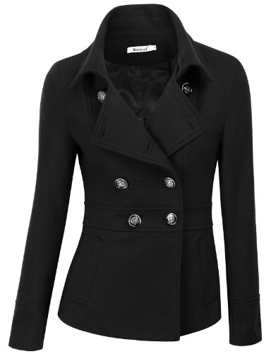 Doublju Double Breasted Pea Coat Jacket BLACK (US-XL), AWOCO05 Black, X-Large