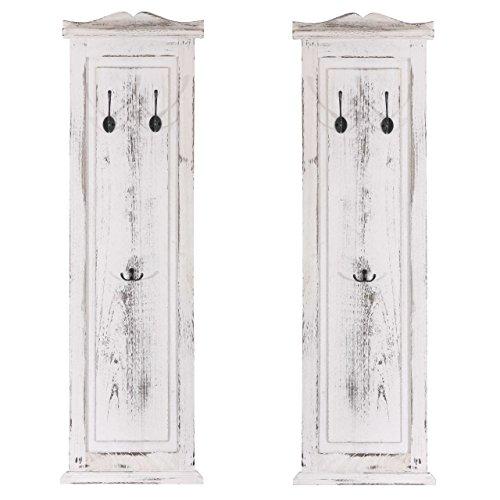 2x Garderobe Wandgarderobe Garderobenpaneel Wandhaken 109x28x3,5cm, Shabby-Look, Vintage ~ weiß