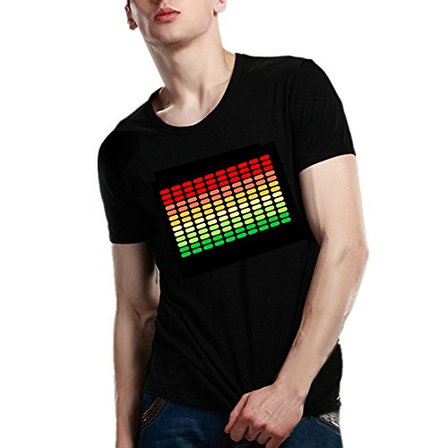 Men's LED Sound Activated Light-up Cotton T-Shirt Party Pub