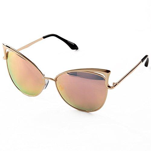 Sunny&Love Women Oversized Cat Eye Sunglasses Mirror Eyewear With Case