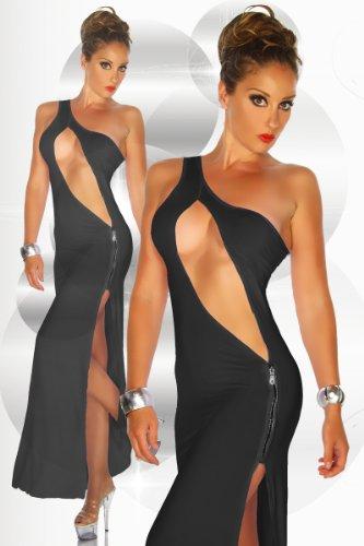 LH Dessous - 12016 (schwarz) Größe S-M. Super HOT! Langes Kleid mit exravagantem tiefem Ausschnitt und seitlichem Reißverschluß. Heißer kann ein Outfit nicht sein !! Die Brust sollte hierfür getaped werden