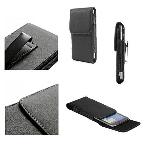 DFV mobile - 革フリップ ベルト クリップ金属ケース ホルスターの垂直 = Sharp Aquos Crystal 2  黒