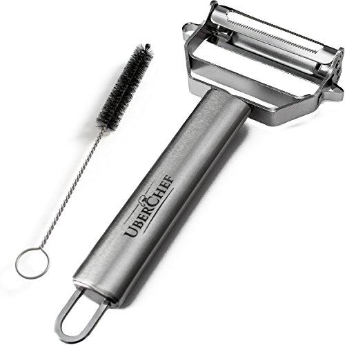 UberChef® Premium Ultra Sharp Stainless Steel Julienne Peeler & Vegetable Peeler with Cleaning Brush | UC-JP101