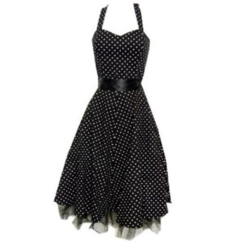 Pretty Kitty Fashion 50s Polka Dot Schwarz Weiß Neckholder Cocktail Kleid S