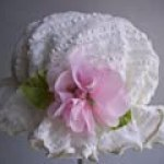 Ivory Ruffles and Pink Rose Duster Hat ~ Baby Girl