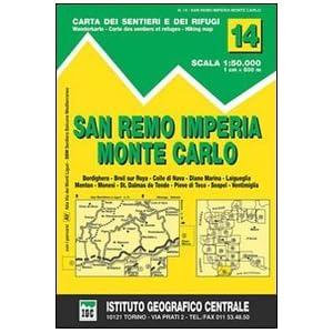 IGC Italien 1 : 50 000 Wanderkarte 14 San Remo, Imperia, Monte Carlo