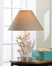 Shabby White Chic Coral Table Lamp from - cold creek gifts