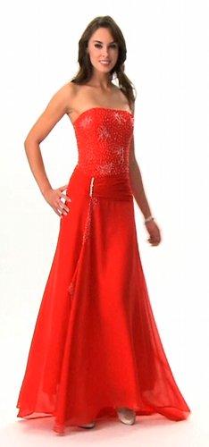 Astrapahl, Luxus Abendkleid, lang, Perlenstickerei, Farbe rot und lila