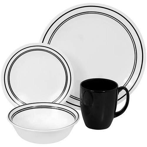 Corelle Livingware 16-Piece Dinnerware Set, Service for 4, Classic Cafe Black