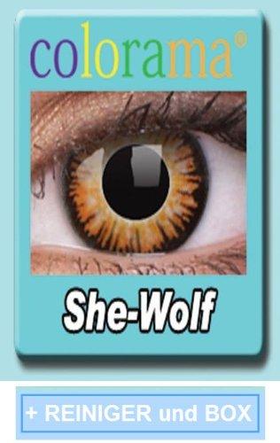 Farbige Kontaktlinsen Crazy Lenses Kostüm Karneval SHE-WOLF inkl. 60 ml Pflegemittel und Behälter
