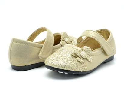 Dream-Pairs-CRYSTAL-1-Mary-Jane-Velcro-Butterfly-Glitter-Ballerina-Flat-Toddler-Little-Girl-New-Gold-Size-3